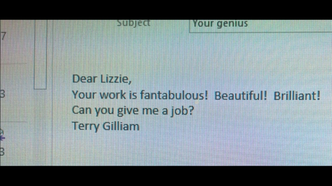 On Cloud 9! Terry Gilliam says nice things